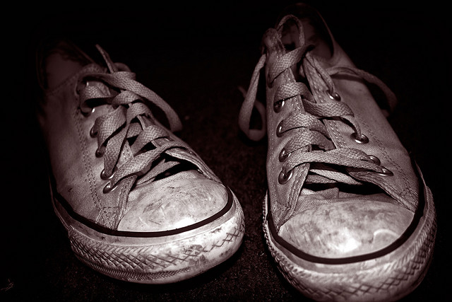 A well-worn pair of shoes